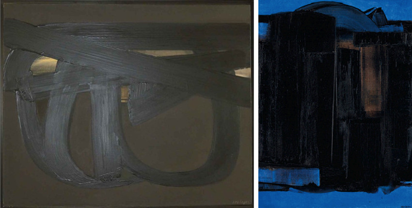 Pierre-Soulages-Peinture-81-x-100-cm-17-janvier-1974-Left-Peinture-130-x-97-cm-23-avril-1975-Right-images-courtesy-of-Opera-Gallery