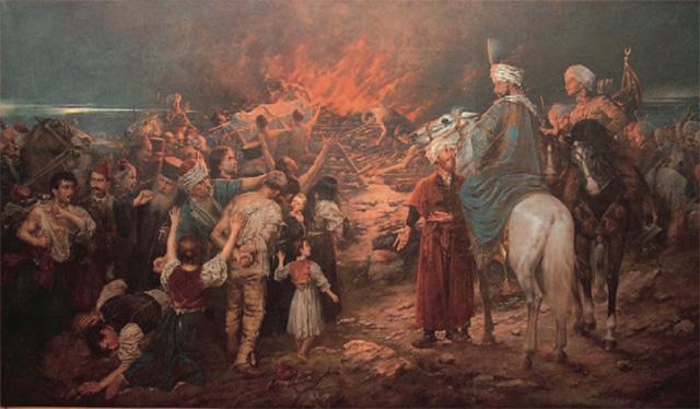 Stevan_Aleksić,_Spaljivanje_Moštiju_Svetog_Save,_1912